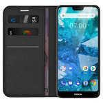Leather Wallet Case & Card Holder Pouch for Nokia 7.1 - Black